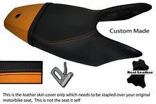 ORANGE & BLACK CUSTOM FITS KTM SUPERDUKE 990 05-12 DUAL LEATHER SEAT COVER