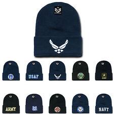 USAF Army USMC Marines Navy Coast Guard Logos Beanies Cuffed Long Knit Caps Hats