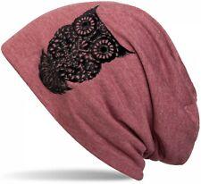 styleBREAKER beanie hat with owl flock print, women