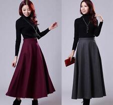 New Winter Warm Retro Womens Slim Add wool Blend pleated Maxi Long A-line Skirts