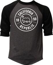Men's California Republic Circle Charcoal Baseball Raglan Shirt Cali West Coast