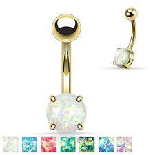 NUOVO GOLD PLATED Opal Glitter Pancia Ombelico Piercing Barra Bilanciere Colore A Scelta