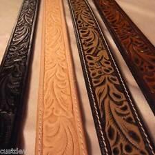 New Women's WESTERN Leaf EMBOSSED Brown, Tan, Black Full Grain LEATHER Belt 655