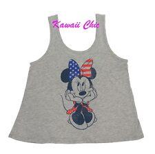 Disney Grey Minnie Mouse Patriotic Graphic Tank Top Shirt Girls Kids S,M,L