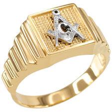 14k Two-Tone Gold MASONIC Square Men's Ring