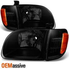 00-04 Toyota Tundra Black Smoke Headlights w/ Corner Light Replacement Pair Set