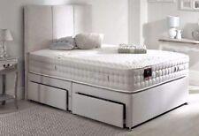 LAVISH LINEN FABRIC DIVAN BED BASE IN 3FT/4FT/4FT6/5FT/6FT STORAGE + HEADBOARD