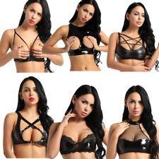 c8b84dbc65949 Sexy Women Leather Shelf Bra Quarter Cup Exposed Nipples Bra Bralette Tops  Club