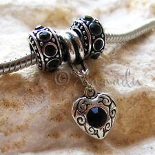 Jet Black Crystal Heart Charm & Black Spacer Beads For European Charm Bracelets