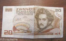 1 banconota 20 SCHILLING scellini zwanzig 1986 MORITZ DAFFINGER austria venti