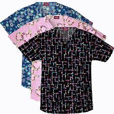 Dickies SCRUBS TOP Women PRINT V-Neck Shirt Pockets Short Sleeve Medical Uniform