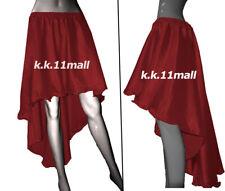 Satin asymmetrical Skirt Maroon color High Low Skirt* Girls Sexy Dress Ruffle S6