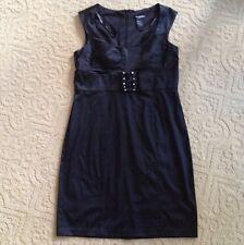 BISOU BISOU Black Dress Rheinstone Buckle Sleeveles Formal Party Evening Work 16