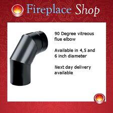"""125mm & 150mm elbows for wood burner stove flue pipe 4"""", 5"""" & 6"""" matt black"""