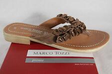 Marco Tozzi pantoletas metededos Zapato abierto piel marrón NUEVO