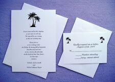 100 Personalized Custom Palm Tree Beach Wedding Invitations Set