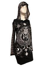 JAWBREAKER GOTHIC SKULL SKELETON OCCULT BLACK MESH HOODED TUNIC DRESS DRA8114
