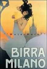 Birra Milano 1920 Italian Beer Vintage Poster Print Retro Style Wall Decor Art
