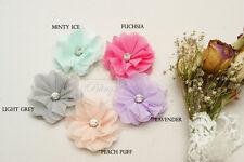 3 Chiffon FABRIC Flower SINGLE Rhinestone DIY baby headband craft supply