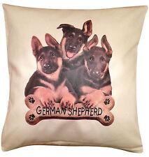 Alsation German Shepherd Puppy Cotton Cushion Cover - Cream or White - Gift Item