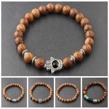 3 Pcs Men's Woman 8MM Multilayer Wooden Beaded Jewelry Stretch Bangle Bracelets