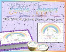 Rainbow Unicorn Birthday Cake topper Edible paper sugar sheet stars horse pony