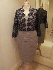 Izabella Stone/Navy Lace Pleat Design Dress 2362