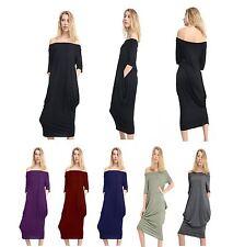 Women Ladies Bardot Off Shoulder Baggy Oversized Pocket Midi Parachute Dress