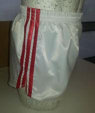 Retro Nylon Satin Football Shorts S to 4XL, White & Red