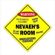"""Nevaeh's Room Sign Crossing Xing 14"""" kids bedroom door children's name boy girl"""