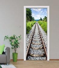 3D Train Rail Tree 4 Door Wall Mural Photo Wall Sticker Decal AJ WALLPAPER CA