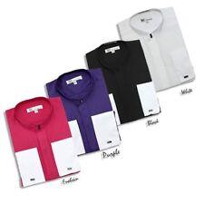 New Men's Hidden Button French Cuff Mandarin Collar Collarless Dress Shirts 01NF