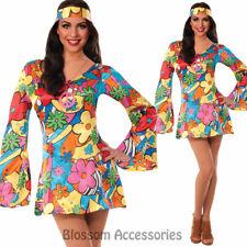 CL803 Hippie Go Go Retro 60s 70s Disco Hippy Flower Power Fancy Dress Up Costume