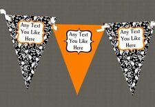 Orange White Black Damask Personalised Wedding Anniversary Party Bunting