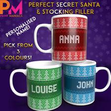 PERSONALISED MUG TEA COFFEE CHRISTMAS SWEATER GIFT SECRET SANTA STOCKING FILLER
