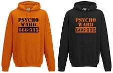 PSYCHO WARD HOODIE GD57 - FUNNY JOKE MENTAL ASYLUM HALLOWEEN ORANGE BLACK NEW
