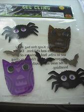 Window SPIDER, BAT, SCARY FACES HALLOWEEN 7 Piece Gel Clings Set Decor Reusable