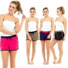 Ladies Womens Summer Hot Pants Lounge Beach Shorts Cotton Stripe Piping  8-22