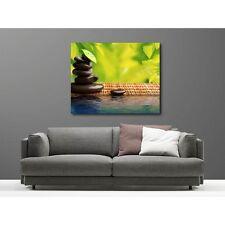 Tableaux toile déco rectangle galet bambou  14709233