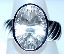 plata de ley 925 Solitario Anillos Cristal Brillante Cuarzo Gema Anillo L - U