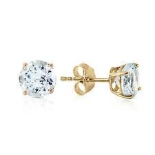 14K Solid Gold Wondrous Sea Aquamarine Earrings