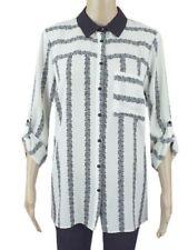 ex F&F Monochrome Stripe Floral Print Contrast Collar Casual Work Shirt Blouse