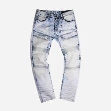 Mens Fashion Biker By Smoke Rise Zip Thigh Pocket Stretch Moto Jeans