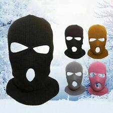 Unisex Outdoor Balaclava Full Face Acrylic Ski Mask Hat 3 Hole Black Beanie