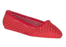 Moncler Women's Red Woven Saint Malo Ballerina Flats Shoes