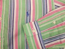 Polo Ralph Lauren Striped Lightweight Oxford Shirt $98 Green Pink Blue  Pony NWT