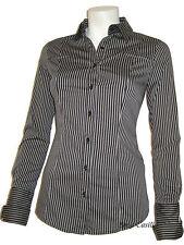 Camicia Camicetta Donna Manica Lunga Avvitata Slim Fit Righe Maglietta Jeans S M