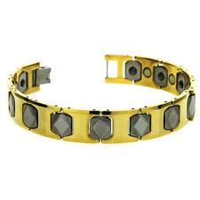 Men Women 11MM Tungsten CarbideTwo Tone Hexagon Link Magnetic Bracelet