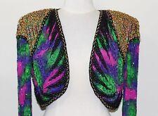 Jasdee Vintage Bolero Jacket Hand Work Bead & Sequins & HandPrint On Silk #3049.