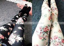 Women's Skinny Black Ivory Floral Print Leggings Stretchy Jeggings Pants